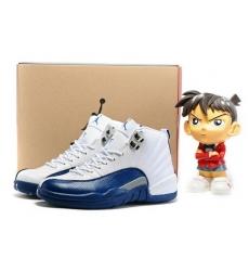 Jordan 12 Retro Men Shoes White French Blue