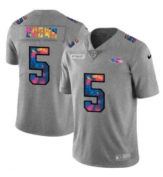 Baltimore Ravens 5 Marquise Brown Men Nike Multi Color 2020 NFL Crucial Catch NFL Jersey Greyheather