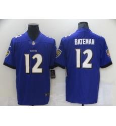 Men Baltimore Ravens 12 Rashod Bateman 2021 Vapor Untouchable Purple Stitched Jersey