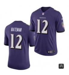 Men Baltimore Ravens #12 Rashod Bateman Purple 2021 Vapor Untouchable Limited Stitched NFL Jersey