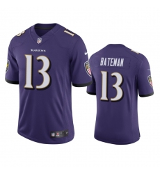Men Baltimore Ravens 13 Rashod Bateman Purple Vapor Limited 2021 NFL Draft Jersey