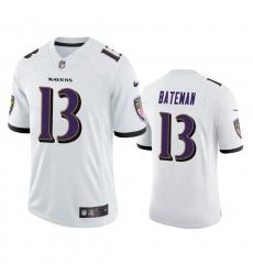Men Baltimore Ravens 13 Rashod Bateman White Vapor Limited 2021 NFL Draft Jersey