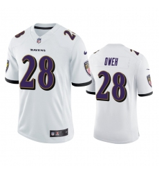 Men Baltimore Ravens 28 Jayson Oweh White Vapor Limited 2021 NFL Draft Jersey