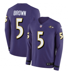 Nike Baltimore Ravens 15 Marquise Brown Purple Team Color Men Stitched NFL Limited Therma Long Sleeve Jersey
