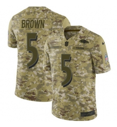 Nike Baltimore Ravens 5 Marquise Brown Camo Men Stitched NFL Limited 2018 Salute To Service Jersey