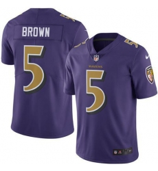 Nike Baltimore Ravens 5 Marquise Brown Purple Men Stitched NFL Limited Rush Jersey