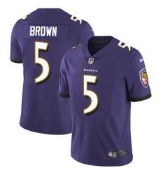 Nike Baltimore Ravens 5 Marquise Brown Purple Team Color Men Stitched NFL Vapor Untouchable Limited Jersey