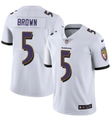 Nike Baltimore Ravens 5 Marquise Brown White Men Stitched NFL Vapor Untouchable Limited Jersey