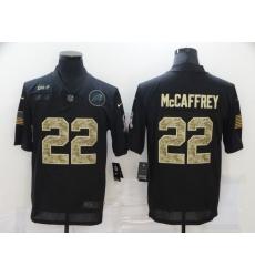 Nike Carolina Panthers 22 Christian McCaffrey Black Camo 2020 Salute To Service Limited Jersey
