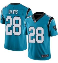 Nike Carolina Panthers 28 Mike Davis Blue Men Stitched NFL Limited Rush Jersey