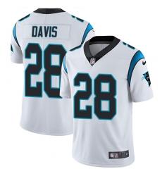 Nike Carolina Panthers 28 Mike Davis White Men Stitched NFL Vapor Untouchable Limited Jersey