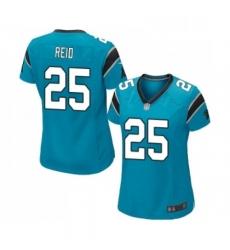 Womens Carolina Panthers 25 Eric Reid Game Blue Alternate Football Jersey