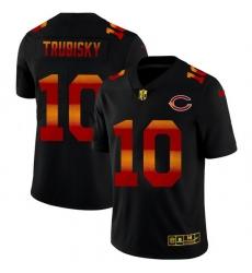 Chicago Bears 10 Mitchell Trubisky Men Black Nike Red Orange Stripe Vapor Limited NFL Jersey