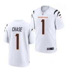 Men Cincinnati Bengals #1 Ja'Marr Chase White 2021 Game Football Jersey