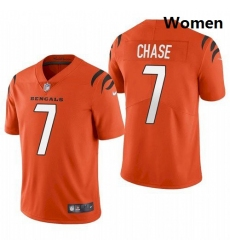 Women Cincinnati Bengals Ja'Marr Chase Orange 2021 Draft Jersey