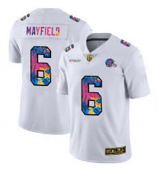 Cleveland Browns 6 Baker Mayfield Men White Nike Multi Color 2020 NFL Crucial Catch Limited NFL Jersey