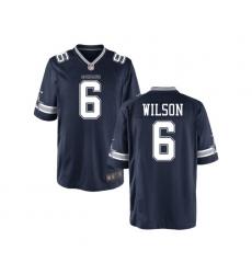 Men Nike Dallas Cowboys Wilson 6 Blue Vapor Limited NFL Jersey