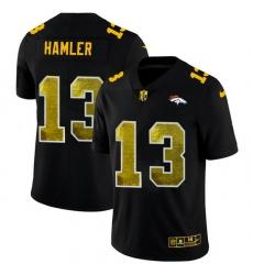Denver Broncos 13 KJ Hamler Men Black Nike Golden Sequin Vapor Limited NFL Jersey