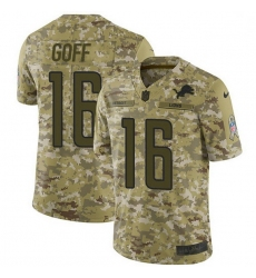 Men Detroit Lions 16 Jared Goff Camo Men Stitched NFL Limited 2018 Salute To Service Jersey