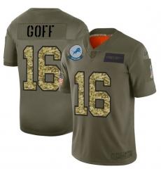 Men Detroit Lions 16 Jared Goff Men Nike 2019 Olive Camo Salute To Service Limited NFL Jersey