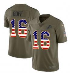 Men Detroit Lions 16 Jared Goff Olive USA Flag Men Stitched NFL Limited 2017 Salute To Service Jersey