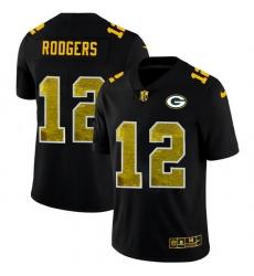 Green Bay Green Bay Green Bay Green Bay Packers 12 Aaron Rodgers Men Black Nike Golden Sequin Vapor Limited NFL Jersey