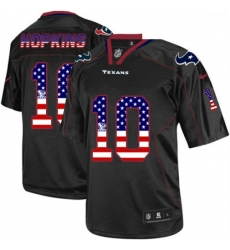 Men Nike Houston Texans 10 DeAndre Hopkins Elite Black USA Flag Fashion NFL Jersey