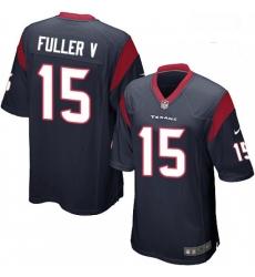 Men Nike Houston Texans 15 Will Fuller V Game Navy Blue Team Color NFL Jersey