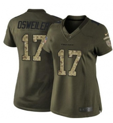 Nike Texans #17 Brock Osweiler Green Womens Stitched NFL Limited Salute to Service Jersey