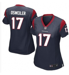 Nike Texans #17 Brock Osweiler Navy Blue Team Color Womens Stitched NFL Elite Jersey