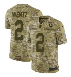 Men Indianapolis Colts 2 Carson Wentz Camo Men Stitched NFL Limited 2018 Salute To Service Jersey