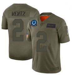 Men Indianapolis Colts 2 Carson Wentz Camo Men Stitched NFL Limited 2019 Salute To Service Jersey
