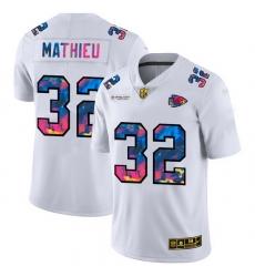 Kansas City Chiefs 32 Tyrann Mathieu Men White Nike Multi Color 2020 NFL Crucial Catch Limited NFL Jersey