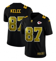 Kansas City Chiefs 87 Travis Kelce Men Black Nike Golden Sequin Vapor Limited NFL Jersey