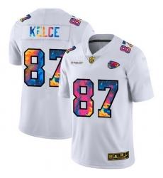 Kansas City Chiefs 87 Travis Kelce Men White Nike Multi Color 2020 NFL Crucial Catch Limited NFL Jersey