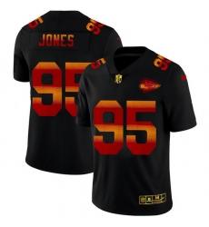 Kansas City Chiefs 95 Chris Jones Men Black Nike Red Orange Stripe Vapor Limited NFL Jersey