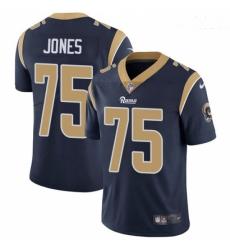 Men Nike Los Angeles Rams #75 Deacon Jones Navy Blue Team Color Vapor Untouchable Limited Player NFL Jersey