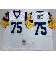 Men Nike Los Angeles Rams #75 Deacon Jones Throwback White Jersey