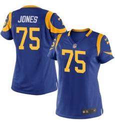 Women's Nike Los Angeles Rams #75 Deacon Jones Game Royal Blue Alternate NFL Jersey