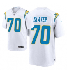 Men Los Angeles Chargers 70 Rashawn Slater 2021 NFL Draft Game Jersey   White
