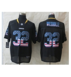 Nike San Diego Chargers 32 Eric Weddle Black Elite USA Flag Fashion NFL Jersey