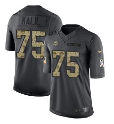 Nike Vikings #75 Matt Kalil Black Youth Stitched NFL Limited 2016 Salute To Service Jersey