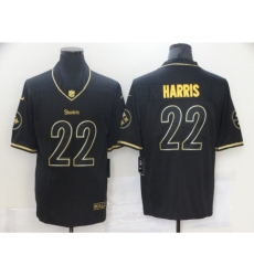 Men's Pittsburgh Steelers #22 Najee Harris Nike Black Gold Draft First Round Pick Limited Jersey