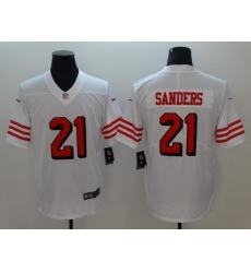 Men's San Francisco 49ers Deion Sanders 21 White Nike Scarlet Player Limited Jersey