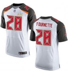 Men Tampa Bay Buccaneers 28 Leonard Fournette White Men Super Bowl LV Bound Stitched NFL New Elite Jersey