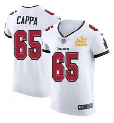 Men Tampa Bay Buccaneers 65 Alex Cappa Men Super Bowl LV Champions Patch Nike White Vapor Elite Jersey