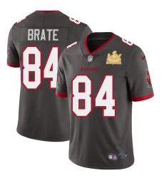 Men Tampa Bay Buccaneers 84 Cameron Brate Men Super Bowl LV Champions Patch Nike Pewter Alternate Vapor Limited Jersey