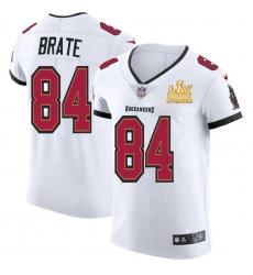 Men Tampa Bay Buccaneers 84 Cameron Brate Men Super Bowl LV Champions Patch Nike White Vapor Elite Jersey