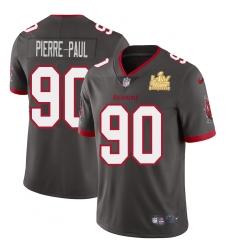 Men Tampa Bay Buccaneers 90 Jason Pierre Paul Men Super Bowl LV Champions Patch Nike Pewter Alternate Vapor Limited Jersey