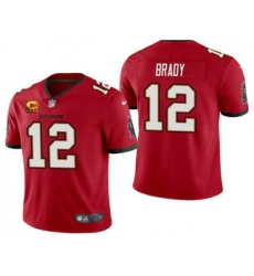Men Tom Brady Tampa Bay Buccaneers Red Captain Patch Vapor Limited Jersey